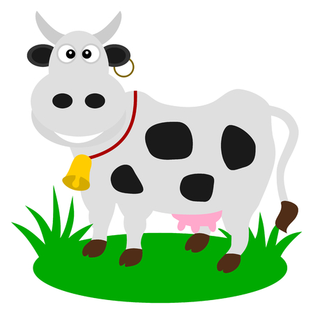 a dairy cow in a pasture Vector
