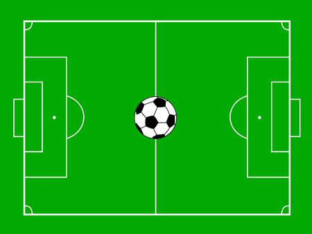 green background: football field with ball