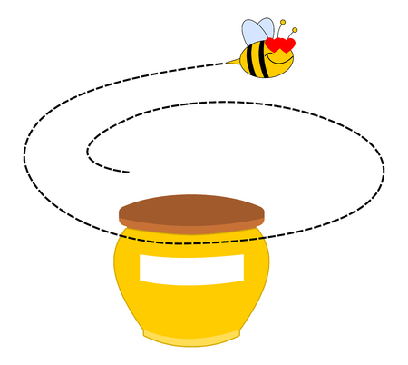 a bee rotating around a pot of honey Vector