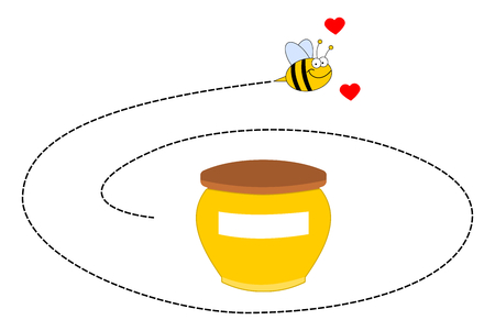 loveable: a bee rotating around a pot of honey Illustration