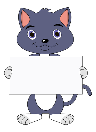 puss: standing kitten with a placard Illustration