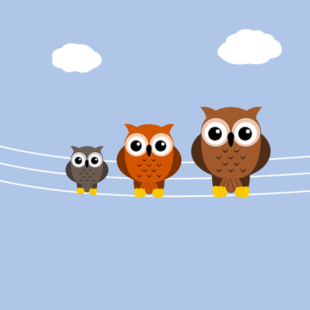 telephone pole: owls on a telephone pole cable Illustration