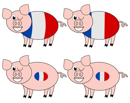 porker: french pig breeding Illustration