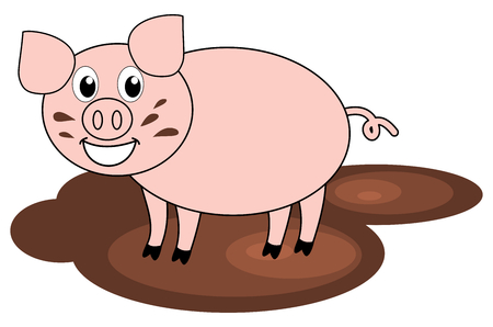 a pig in mud Vector
