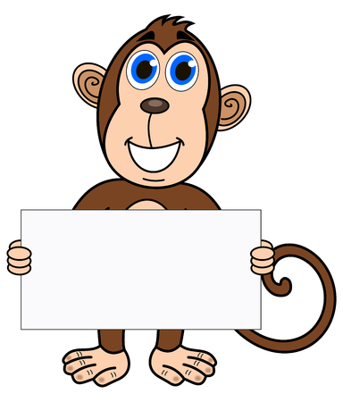 a monkey with a placard Illustration