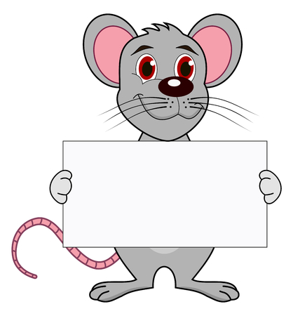 loveable: a mouse with a placard