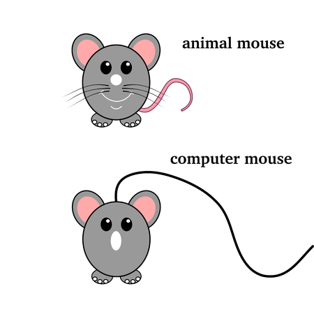 loveable: a wired mouse and mini mouse Illustration