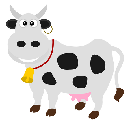 loveable: a dairy cow standing Illustration