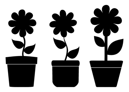 plant pot: flower pots with shadow