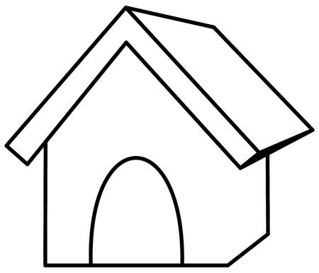 dog kennel: a dog kennel in outline Illustration