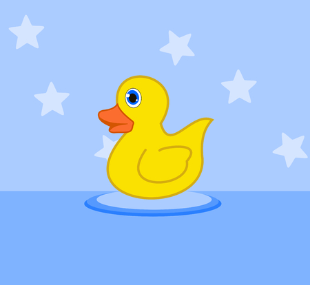 fledgeling: duckling in a bath toy Illustration