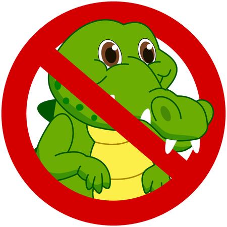 crocodile in a prohibitory sign Vector