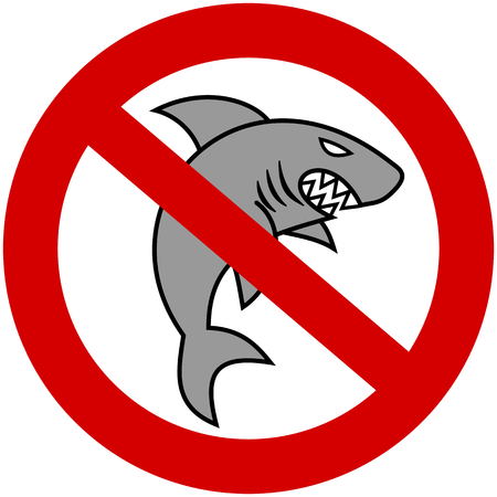 road rage: a gray shark with prohibitory sign