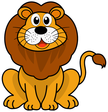 loveable: a cute lion sitting