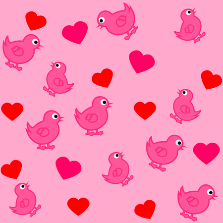 fledgeling: pattern for wrapping paper and filled with birds and hearts