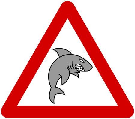 a grey shark with warning sign Vector