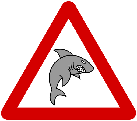 road rage: a grey shark with warning sign Illustration
