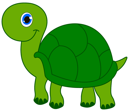 loveable: a smiling green turtle Illustration