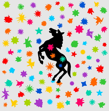 smirch: horse festival with a shower of color Illustration