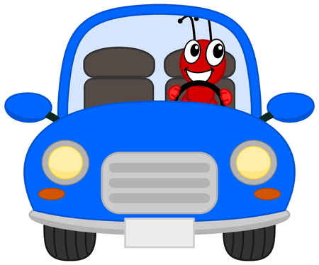 colony: a joyous ant in a blue car