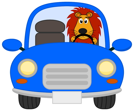 loveable: a lion in a blue car