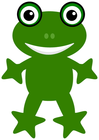 a happy green frog