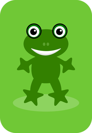 a happy green frog on a green background