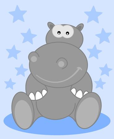 child sitting: a grey hippo sitting smiling for child Illustration