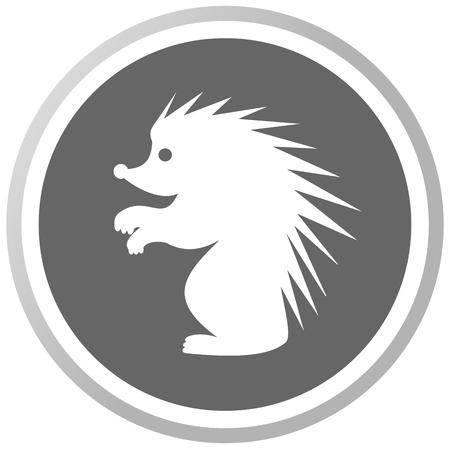 a hedgehog in a grey Panel Vector