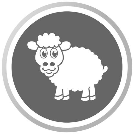 a sheep in a grey Panel Vector
