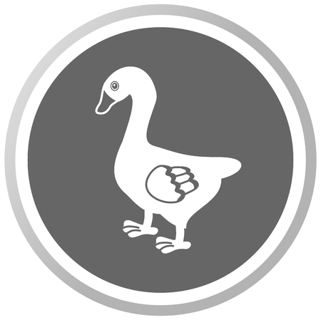 palmiped: a goose in a grey Panel Illustration