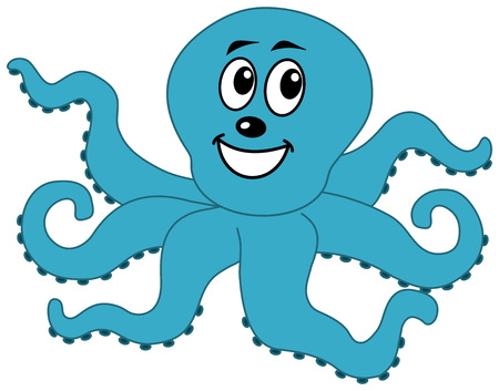 crusted: a happy blue octopus