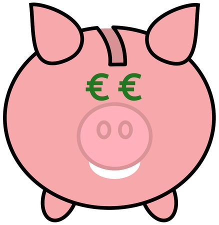 porker: a piggy bank with euro eyes