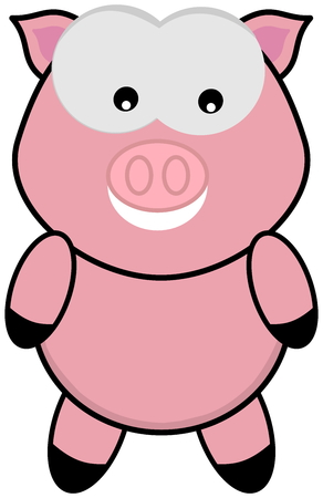 porker: a pig standing and face