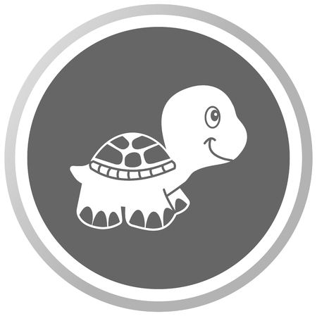 loveable: a turtle in a grey Panel Illustration