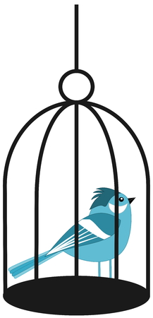 fledgeling: a blue bird in a cage Illustration