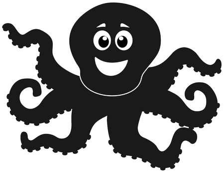 a shadow of octopus merry Vector