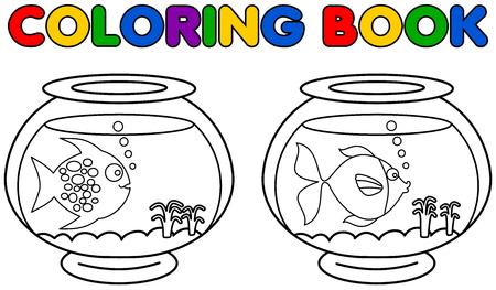 two aquarium with fish coloring Illustration