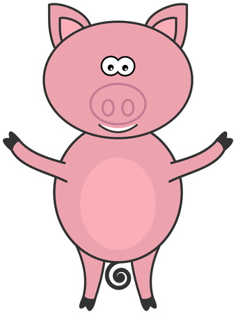 porker: a beautiful pig standing and face