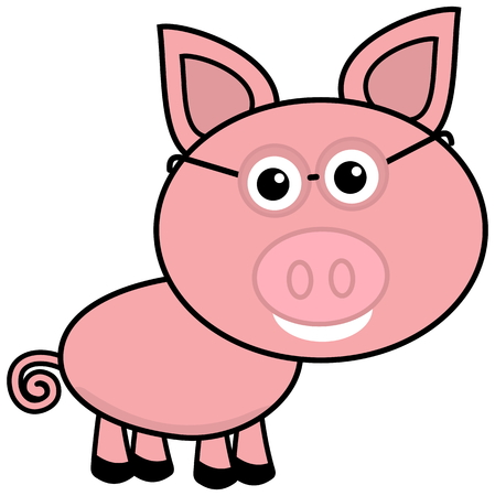 porker: a little pig in profile with glasses