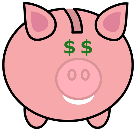porker: a piggy bank with dollar eyes Illustration