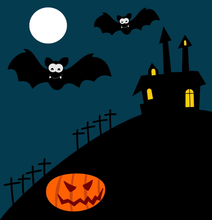 fete: Halloween illustration with bats and pumpkin