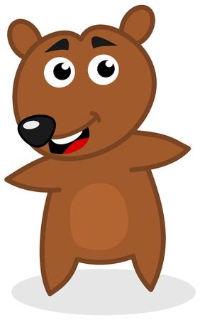 loveable: bear cub smiling standing Illustration