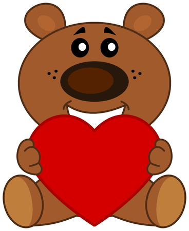 sat: Teddy sat smiling with a heart Illustration