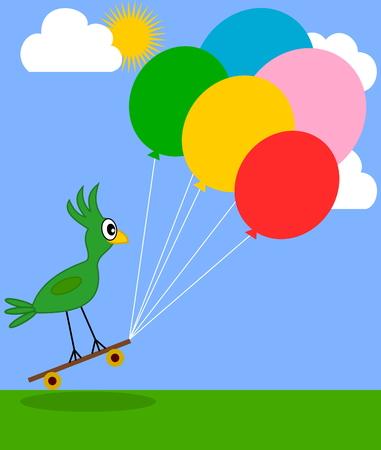 fart: bird at a party Illustration
