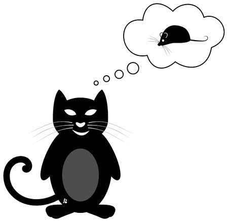 fart: cat thinking of a mouse Illustration