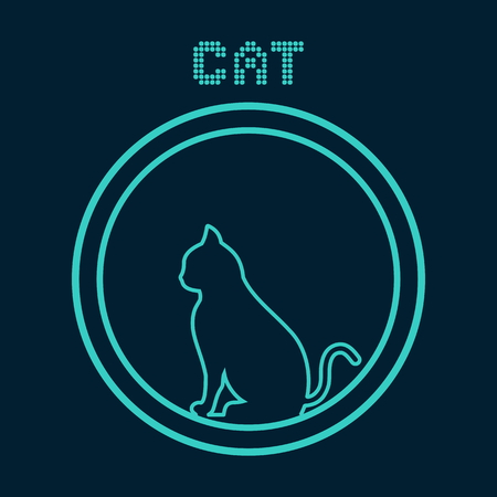 cat in a blue icon Ilustracja