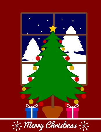 christmas fir with gifts Vector