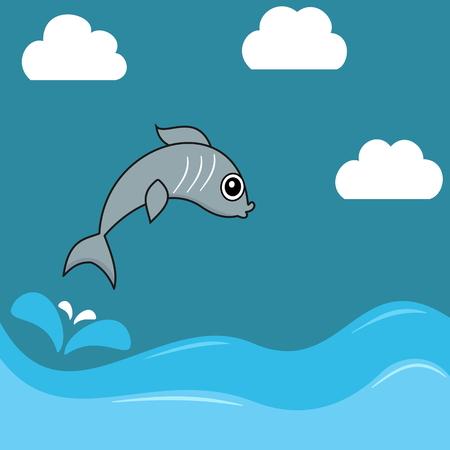 sardine: Illustration einer Sardinen Springen Wasser