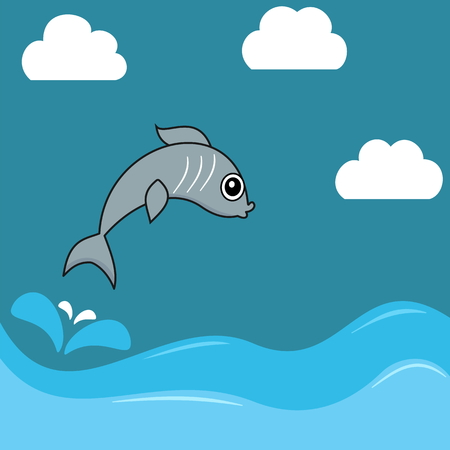 pilchard: illustration of a sardine jumping water